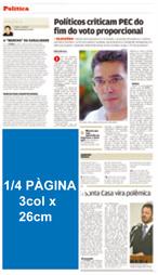 1/4 Página 3 col x 26 cm